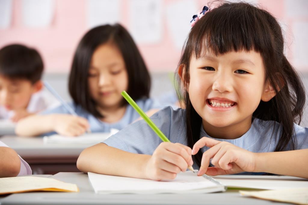 Primary girl happy study